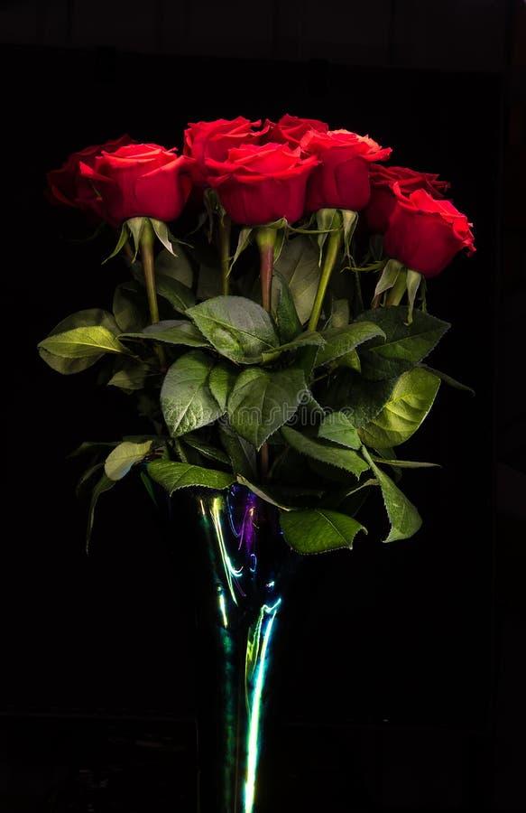 Roses rouges sur le fond noir images stock