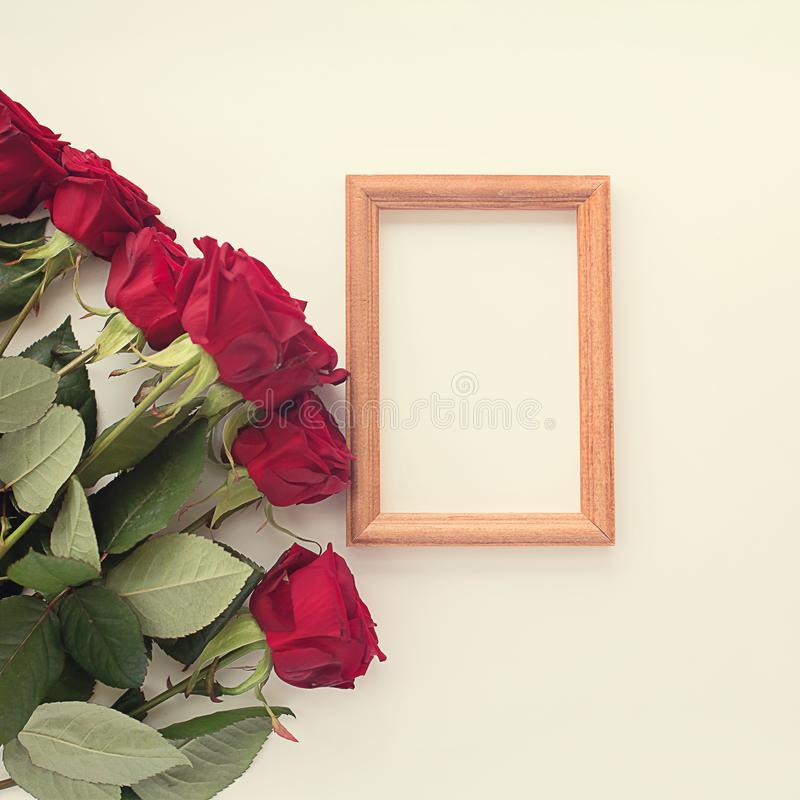 Roses rouges sur un fond carré clair et un cadre pour une photo image stock