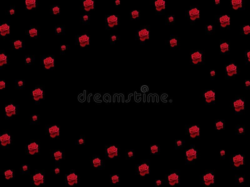 Roses rouges sur un fond noir illustration libre de droits