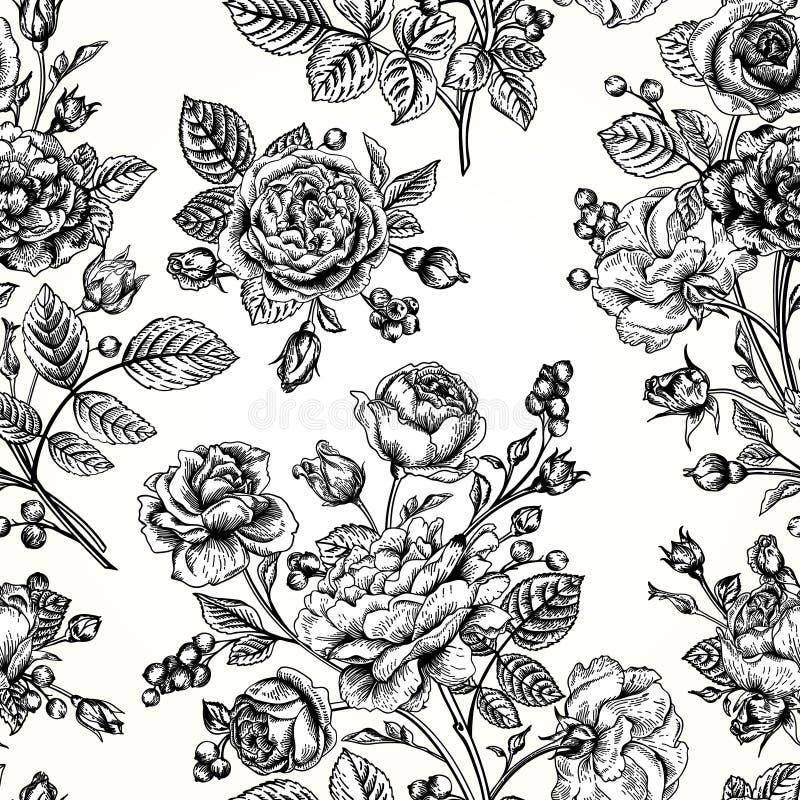 Roses sans couture d'esprit de modèle illustration de vecteur