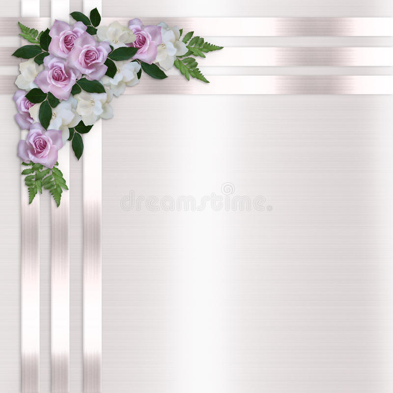 Roses and Satin Ribbons Floral Background stock illustration