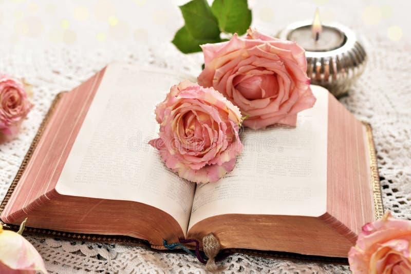 Roses se trouvant sur le vieux livre ouvert image libre de droits