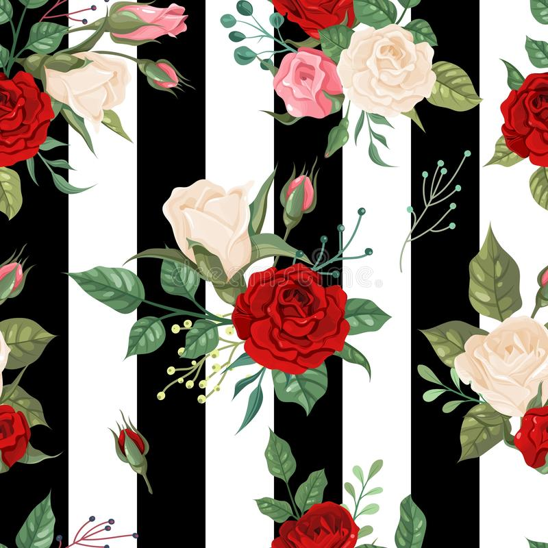 Roses seamless pattern. Background floral decor for invitation cards, wedding wallpaper with white, red rose. Vector royalty free illustration