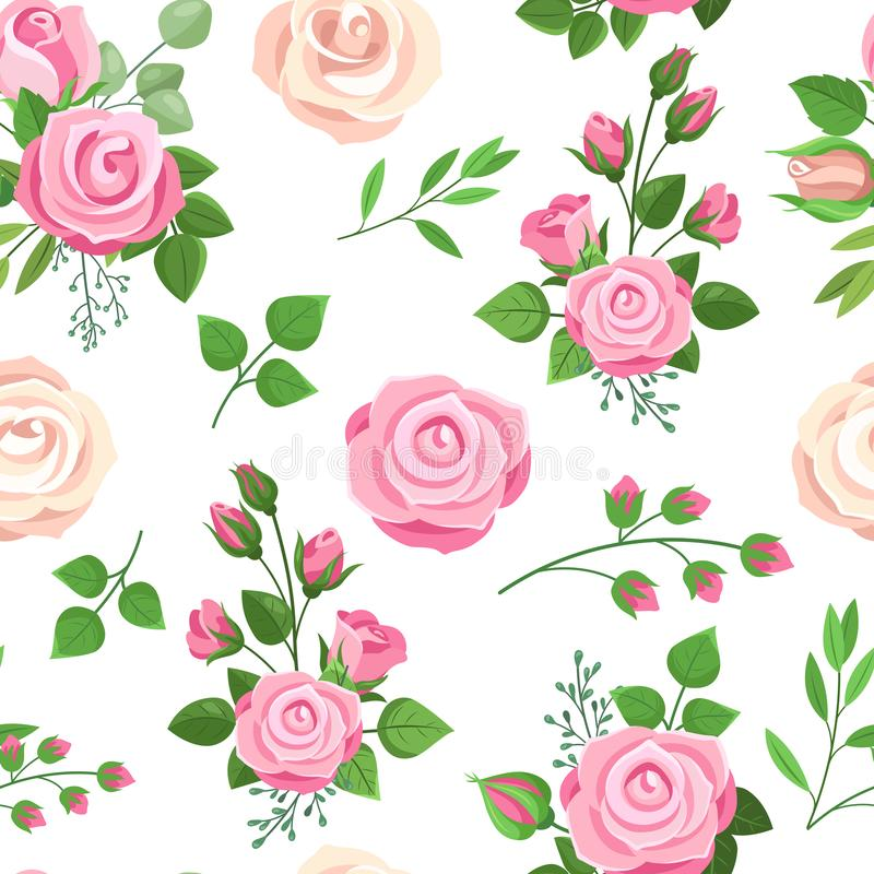Roses seamless pattern. Red, white and pink roses with leaves. Wedding floral romantic decor for invitation cards. Vector texture bouquet floral rose pink stock illustration
