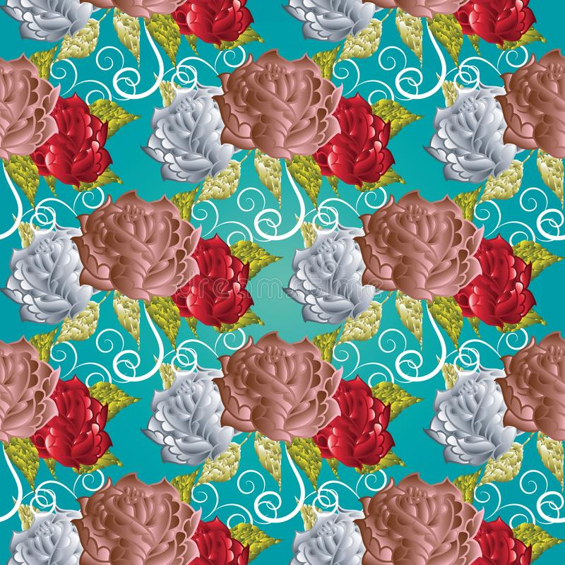 Roses seamless pattern. Turquoise floral vector background. Elegance flowery ornaments with surface pink white red 3d roses royalty free illustration