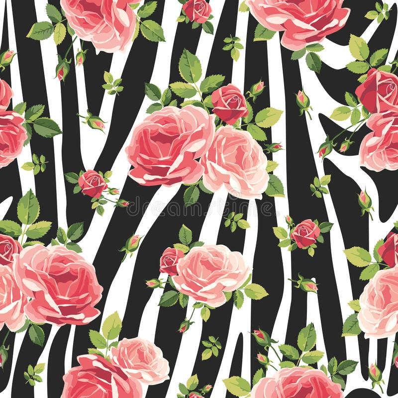 Roses seamless pattern on zebra background. Animal abstract print. Vector illustration royalty free illustration