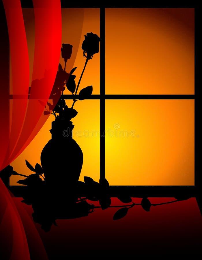 Roses seules dans l'hublot au coucher du soleil illustration stock