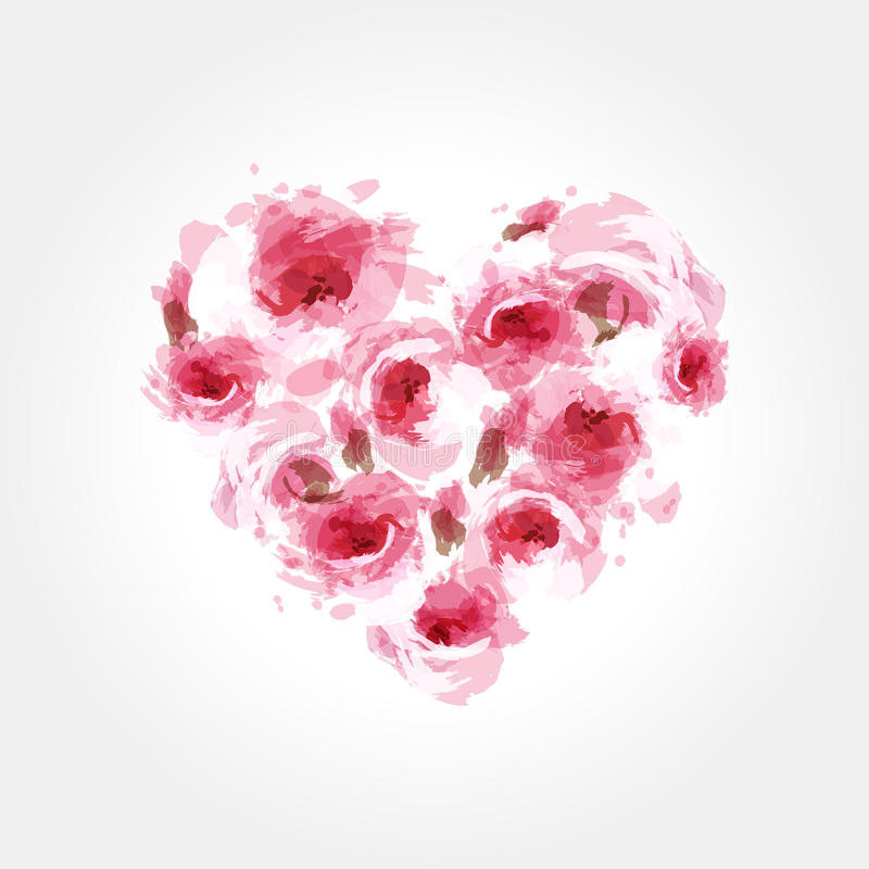 Roses in a shape of a heart stock illustration