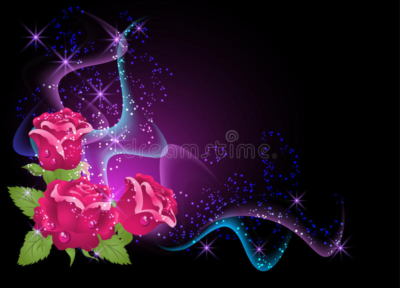 Roses and smoke. Glowing background with roses, smoke and stars royalty free illustration