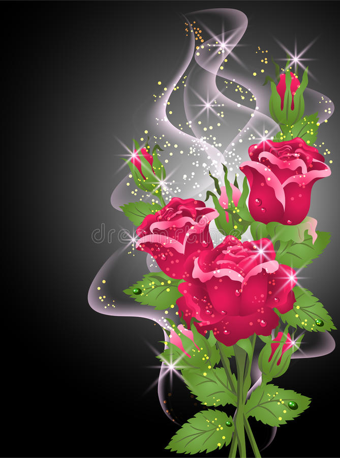 Roses, smoke and stars. Glowing background with roses, smoke and stars stock illustration