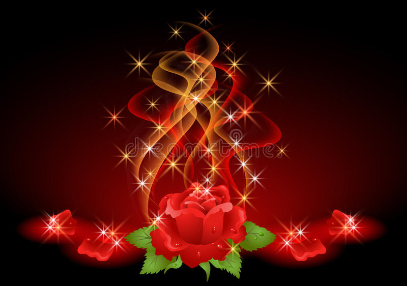 Roses, smoke and stars. Glowing background with roses, smoke and stars vector illustration