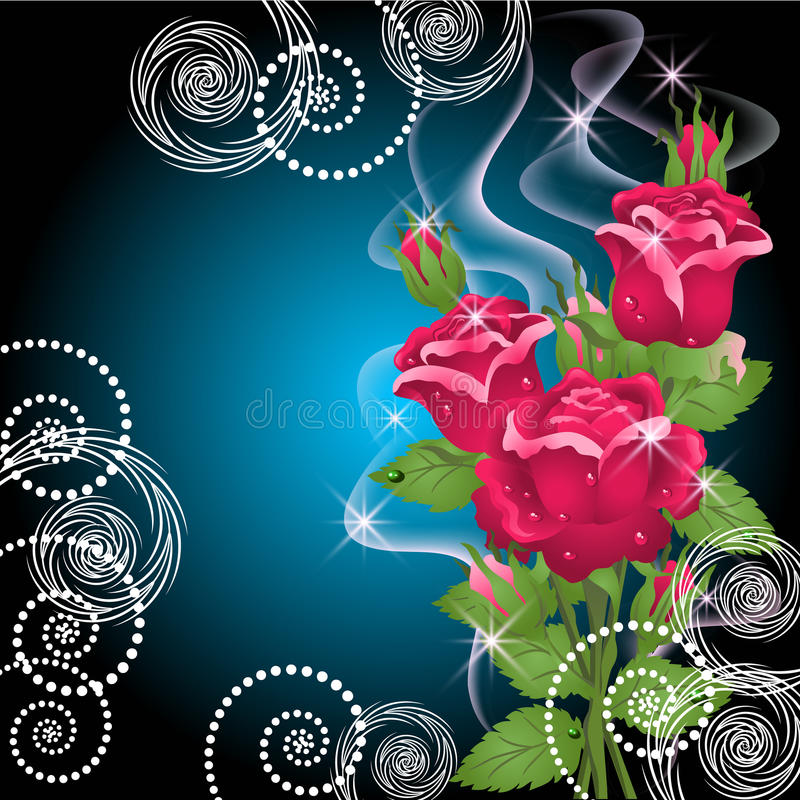 Roses, smoke and stars stock illustration