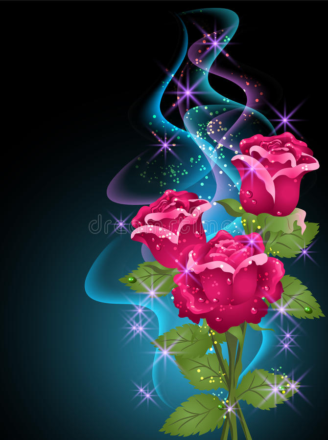 Roses and stars. Glowing background with roses, smoke and stars royalty free illustration
