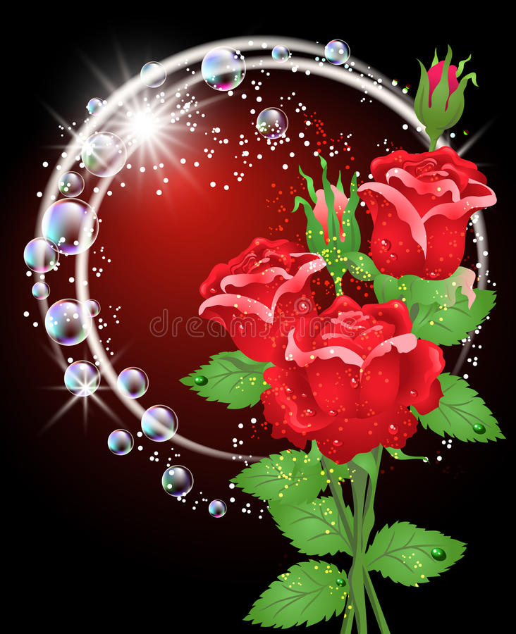 Roses and stars. Glowing background with roses and stars stock illustration