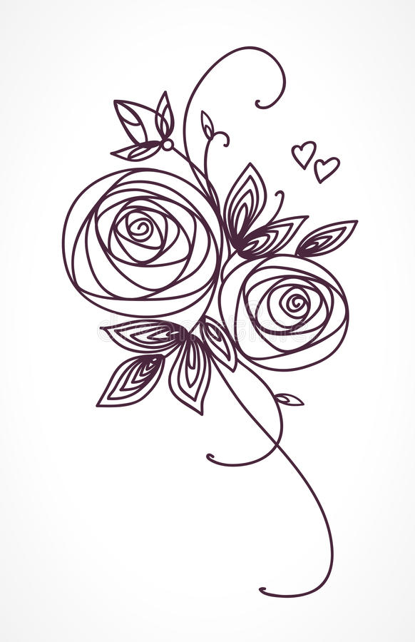 Roses. Stylized flower bouquet hand drawing. Outline icon symbol. Present for wedding, birthday invitation card. royalty free illustration