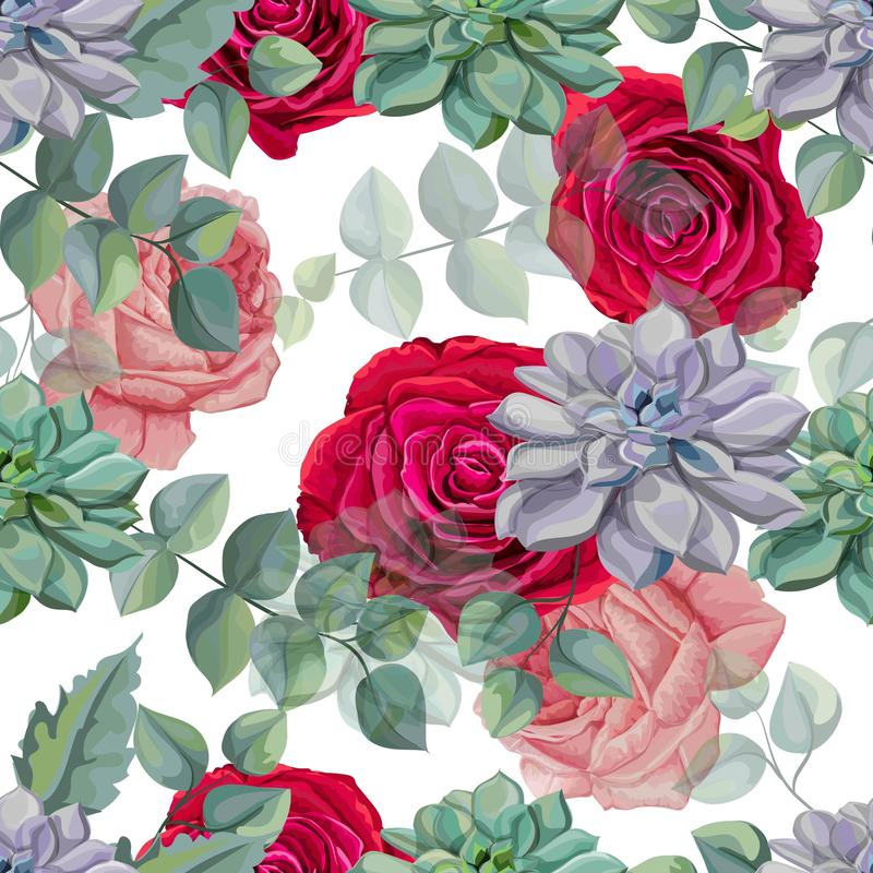 Roses , Succulents  and Tropical leaves seamless pattern vector illustration. Roses , Succulents and Tropical leaves seamless pattern vector illustration stock illustration