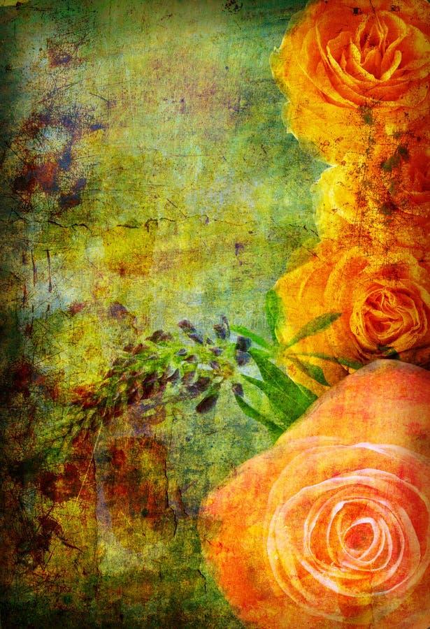 Roses sur la vieille texture grunge illustration de vecteur