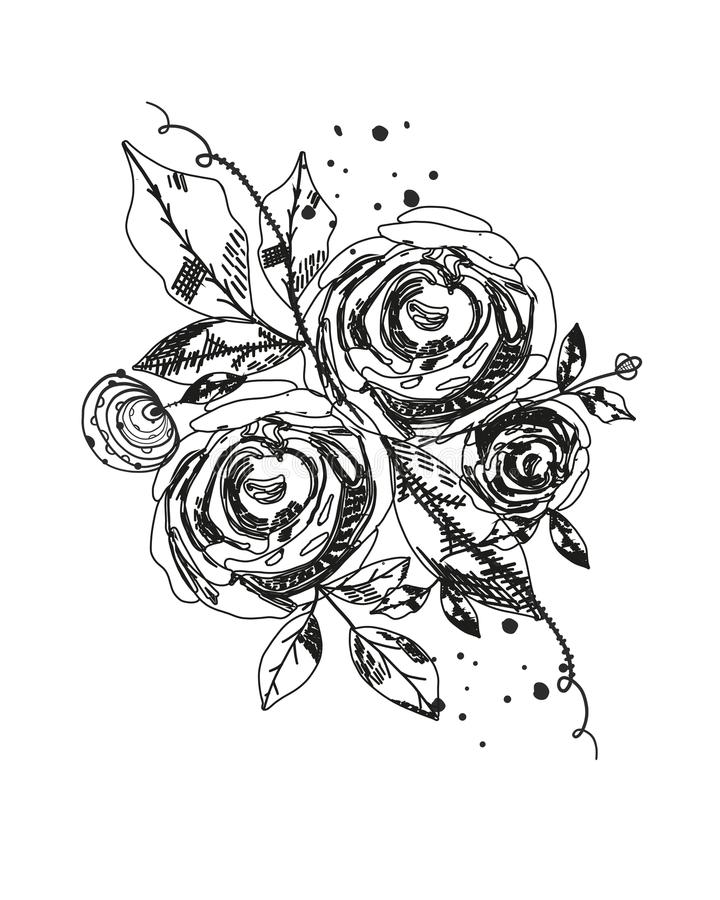 Roses tattoo.Summer time abstract black flowers. Naturetheme. Abstract rose silhouette flower.Abstract tattoo design vector floral stock illustration