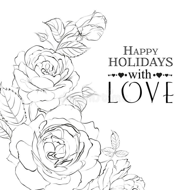 Roses tirées par la main. illustration stock