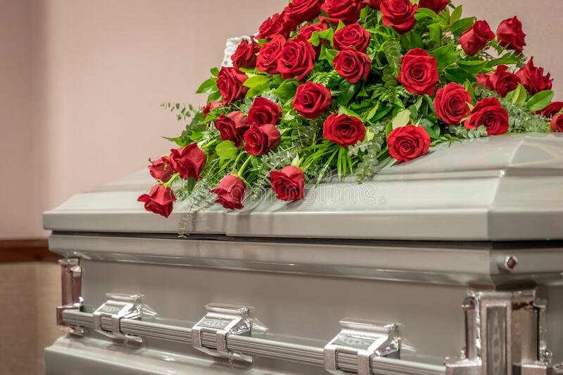 Roses On Top Of Funeral Casket Stock Photo Image Of Arrangement Beautiful 190716866