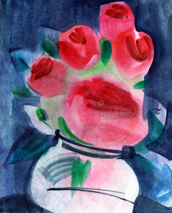 Roses in vase. Watercolors painting stock illustration