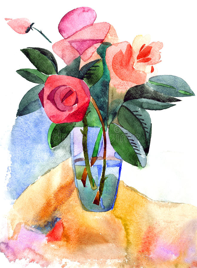 Roses in a vase. Water colour painting on a white background royalty free illustration