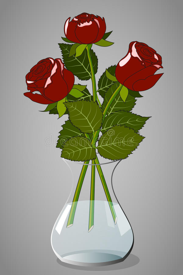 Roses in vase. Three red roses in a transparent vase on a gray background, vector illustration stock illustration