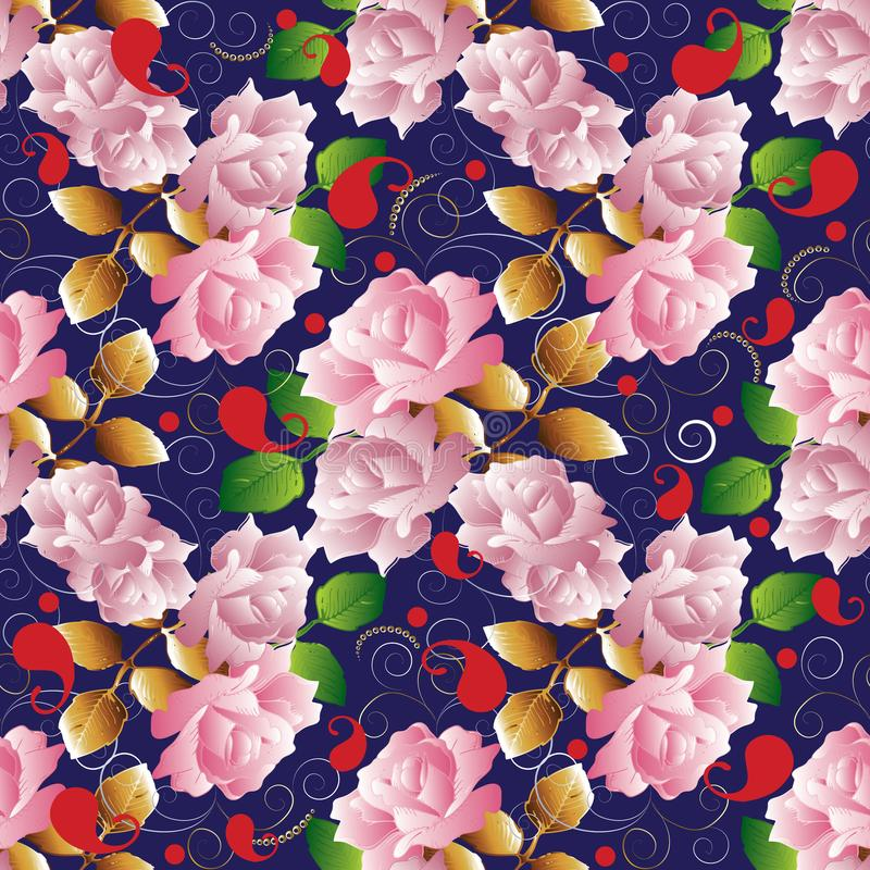 Roses vector seamless pattern. Floral dark blue vintage background. Roses wallpaper. Red paisley flowers with pink 3d roses, gold vector illustration