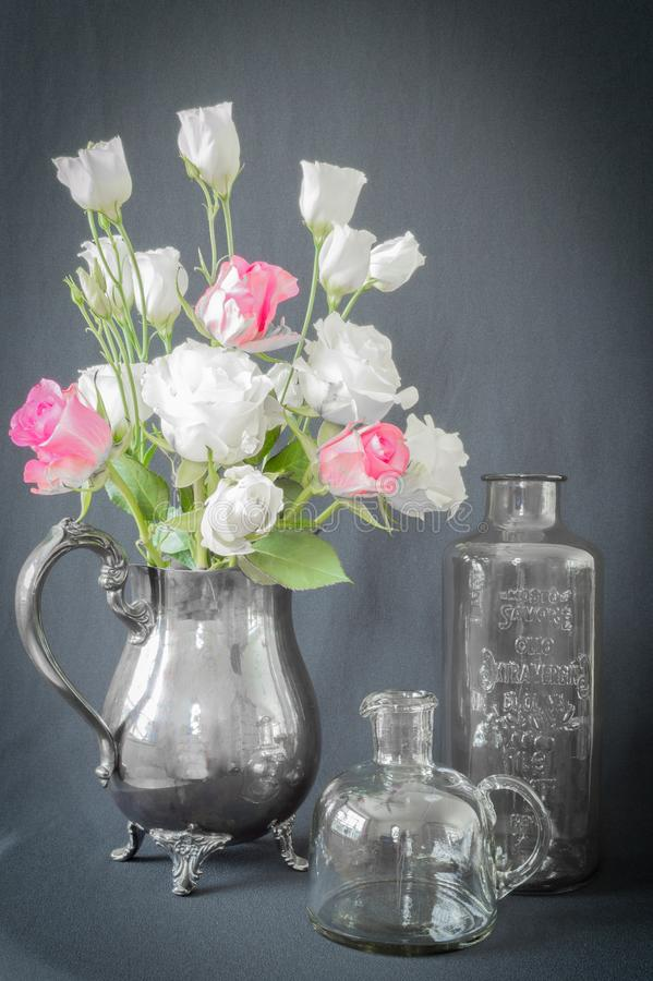 Roses in Vintage Pitcher Still Life royalty free stock photo