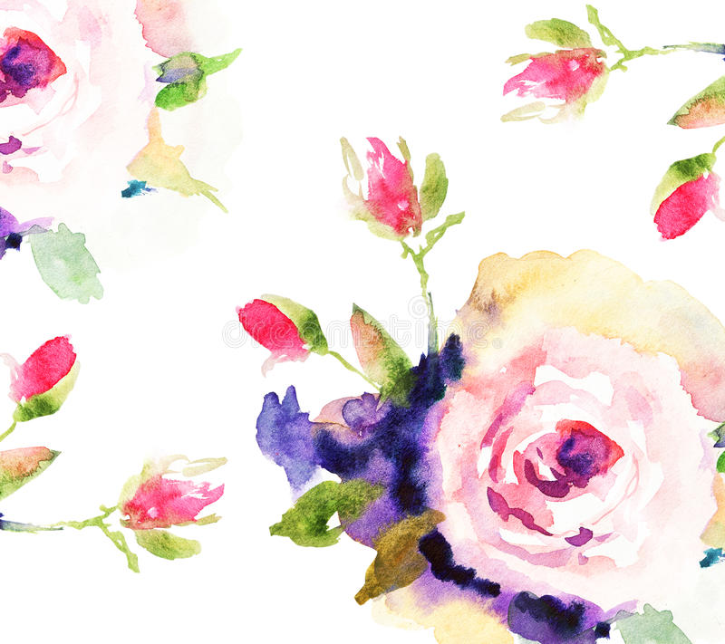 Roses, watercolor illustration stock illustration