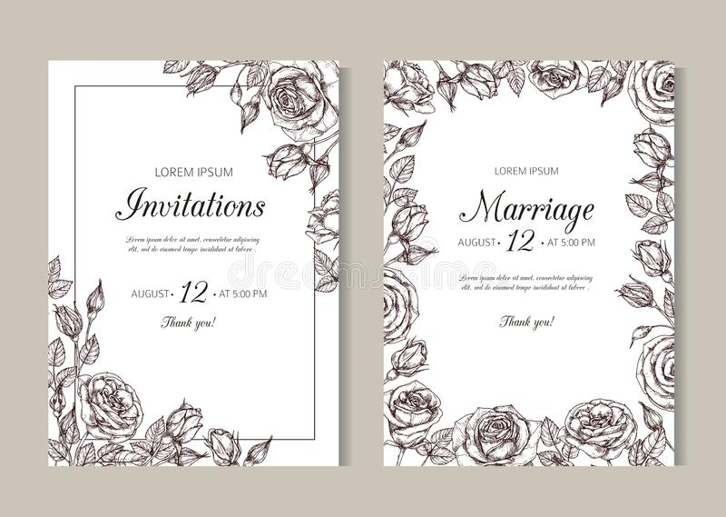 Roses weddding invitation. Hand drawn floral elegant vintage card with rose frame in victorian engraving style vector illustration