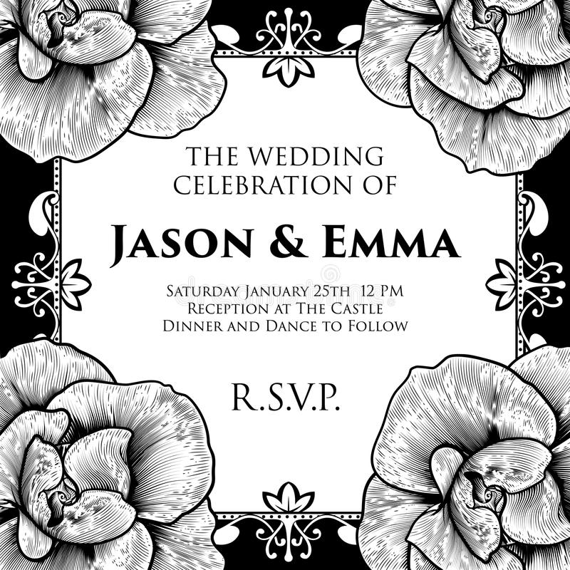 Roses Wedding Invite Invitation Template. A wedding invitation invite save the day template featuring roses woodcut flowers in a vintage retro engraved etching stock illustration