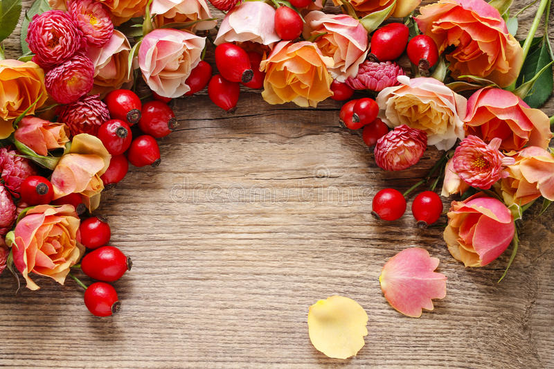 Roses on wooden background. Decoration idea stock photos