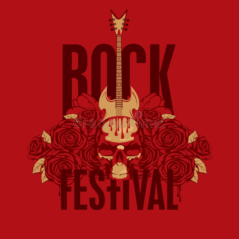Roses and the words Rock festival. Music poster with an electric guitar among flowers roses and the words Rock festival stock illustration