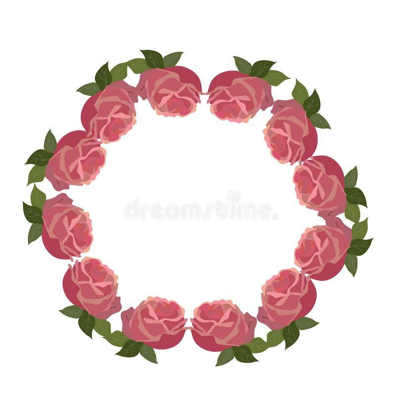 Roses wreath frame, usable for different purposes . vector illustration
