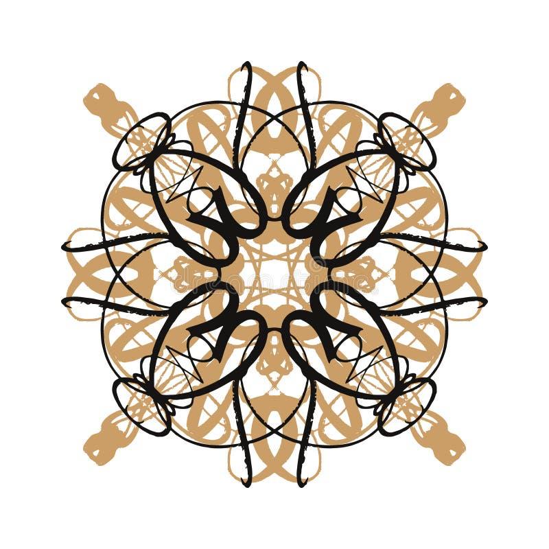 Rosetón o flor, ornamento oriental en el fondo blanco, diseño Nevado de las vacaciones de invierno stock de ilustración