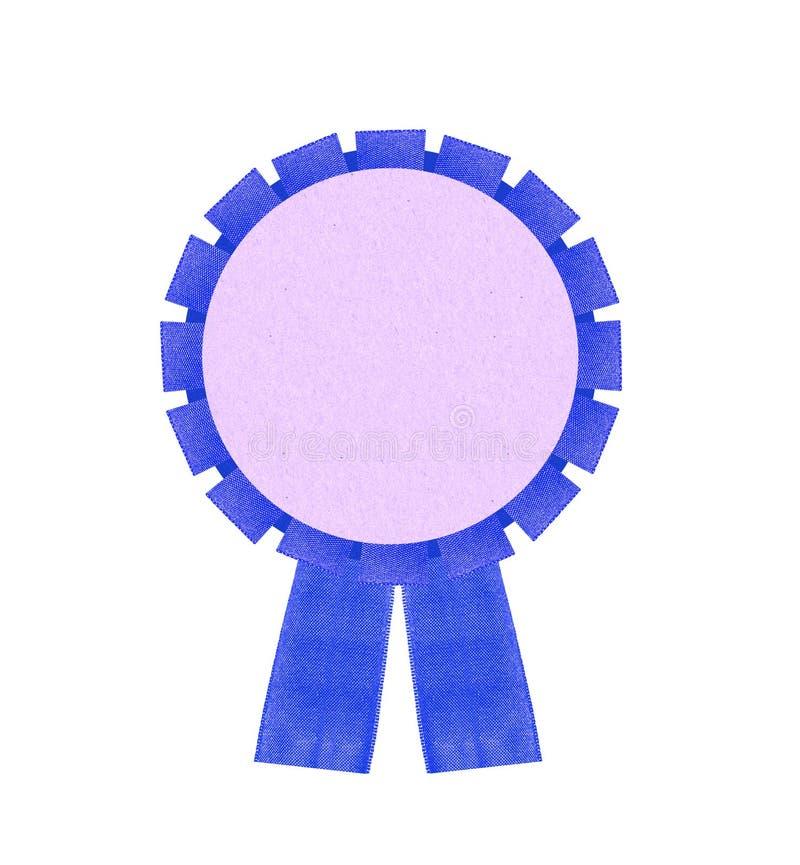 Rosetón premiado azul en blanco de la cinta aislado en Backgr blanco imagen de archivo