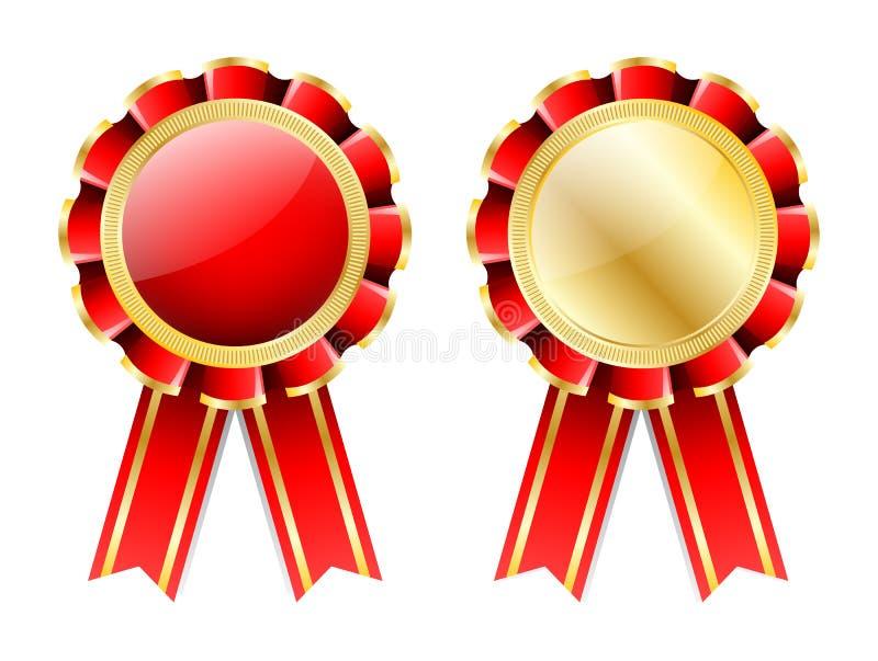 Rosetón rojo, insignia con la frontera del oro, cinta y guirnalda de oro del laurel aisladas en blanco ilustración del vector