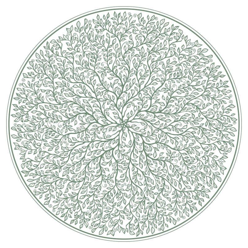 Rosetón verde con las ramas de árbol y ornamento del follaje aislado en el fondo blanco libre illustration