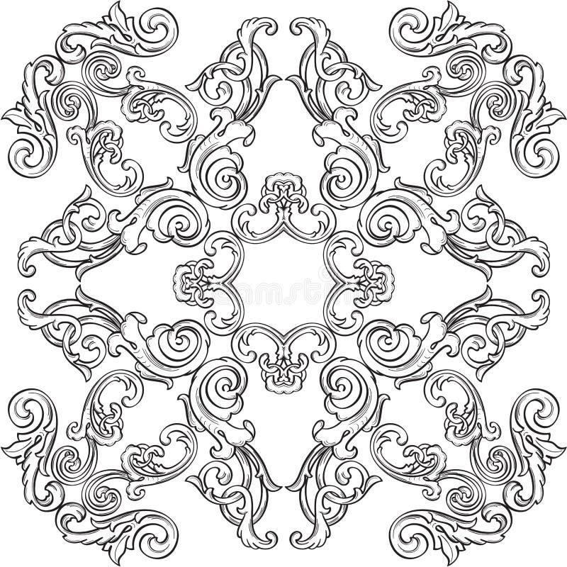 Roseta barroco do cumprimento da arte ilustração royalty free