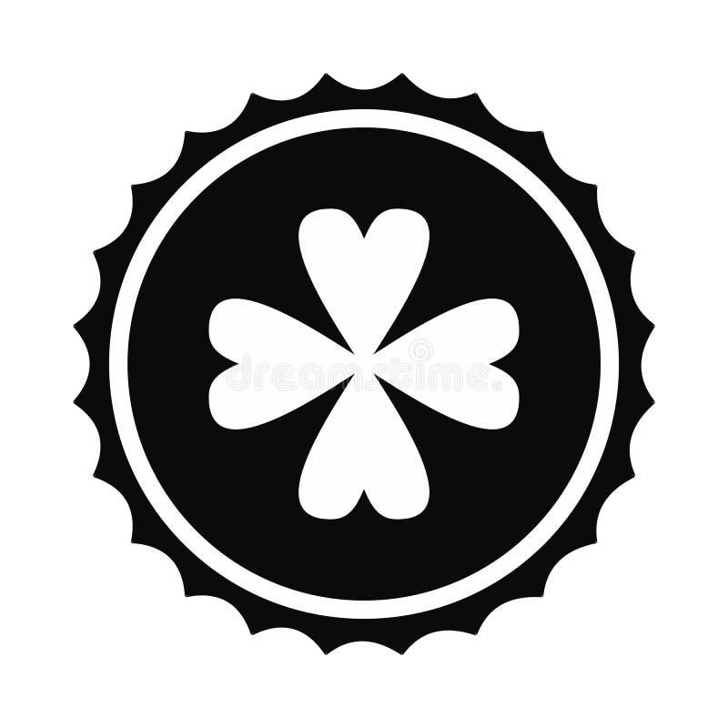 Roseta com ícone do trevo de quatro folhas ilustração do vetor