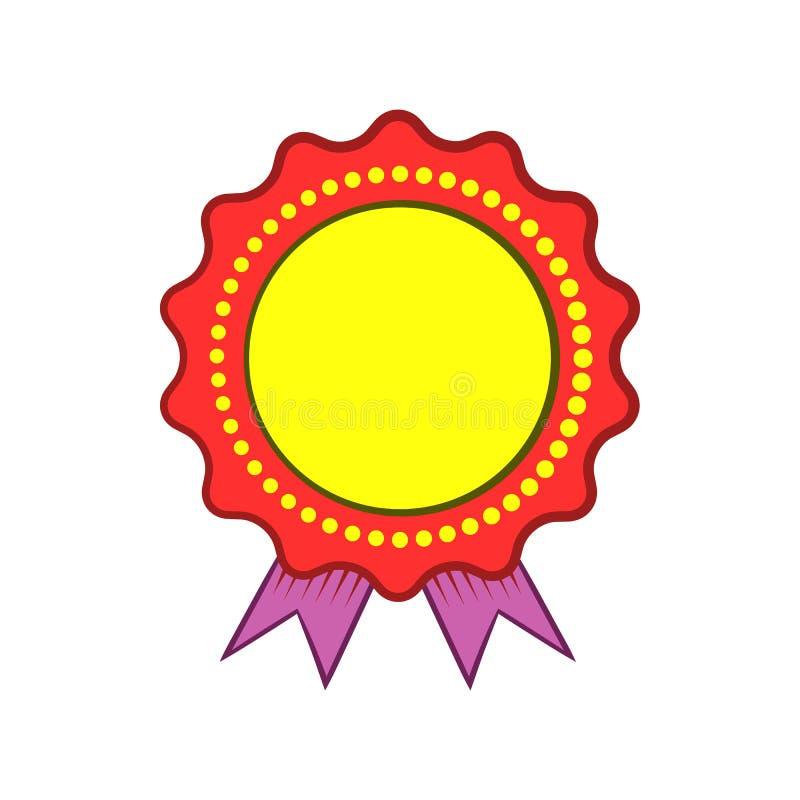 Roseta da concessão com ícone violeta da fita ilustração royalty free