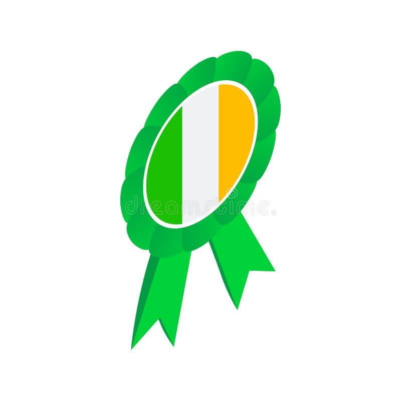 A roseta da fita no irlandês colore o ícone 3d isométrico ilustração do vetor