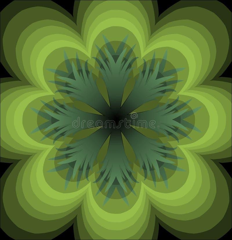 Roseta semitransparent verde no fundo preto Roseta verde plástica ilustração royalty free