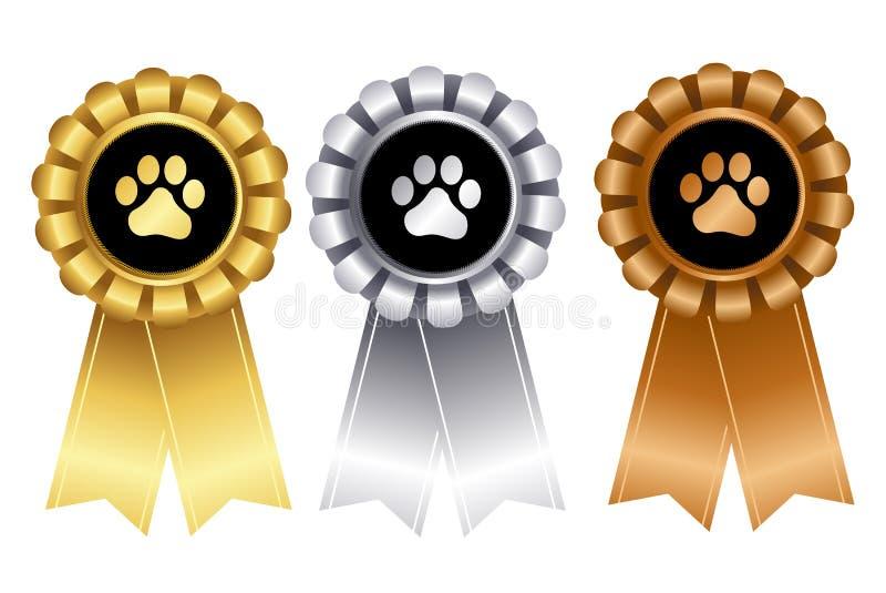 Rosett för band för vinnare för hundshow stock illustrationer