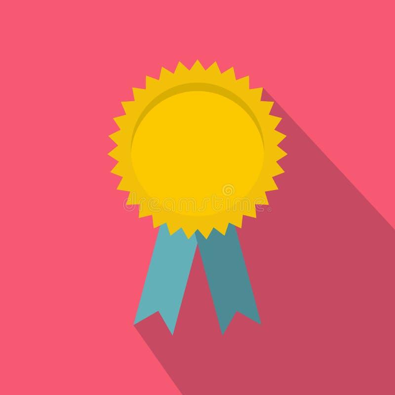 Rosetta in bianco gialla del premio con l'icona del nastro blu royalty illustrazione gratis