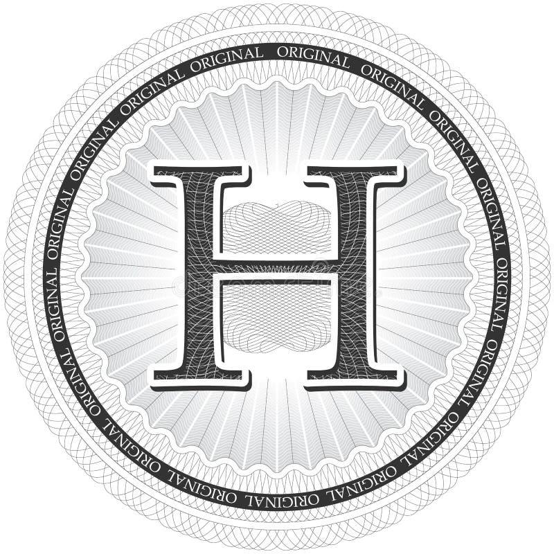 Rosetta del modello della rabescatura di vettore con la lettera H Banknot monetario illustrazione di stock