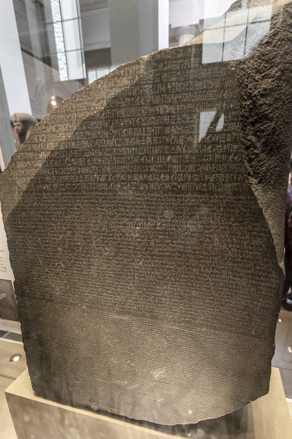Rosetta Stone em British Museum fotografia de stock