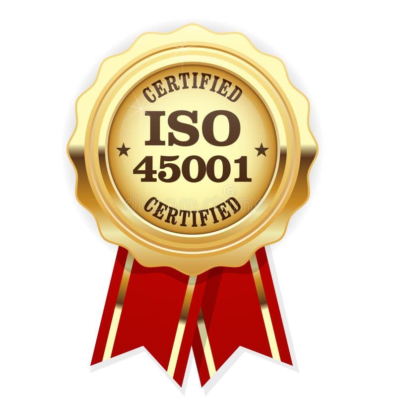 Rosette certifiée par norme d'OIN 45001 - santé et sécurité illustration de vecteur