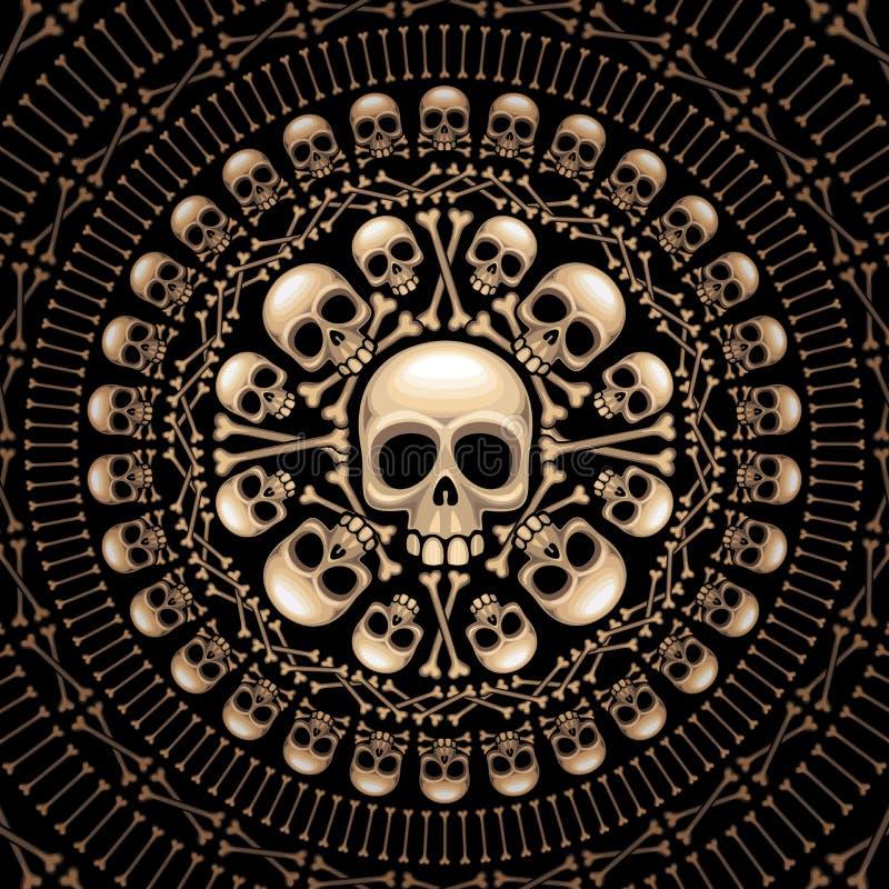 Rosette de crânes et d'os illustration de vecteur